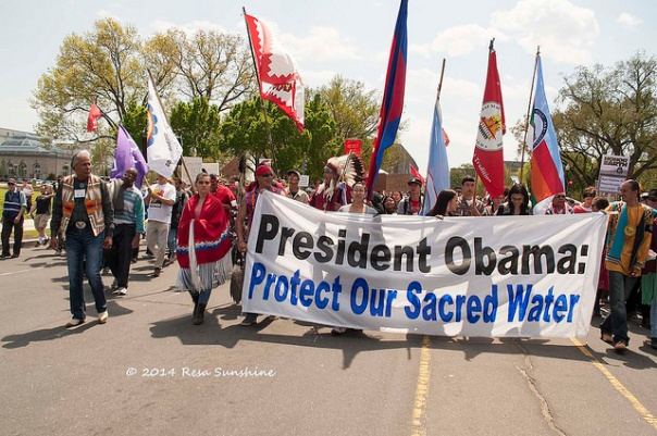 Native American march in Washington, DC to oppose the Keystone XL pipeline, photo by Resa Sunshine