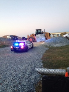 Kelly Canavann locked herself to a construction vehicle at the Dominion Cove Point pier site on Nov. 3.