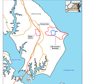 """A map shows """"Offsite B"""" where the pier is being constructed next to the Thomas Johnson Bridge south of the main terminal."""