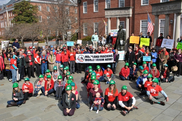 Rally for fracking moratorium in Annapolis in 2013. Photo courtesy of CCAN.