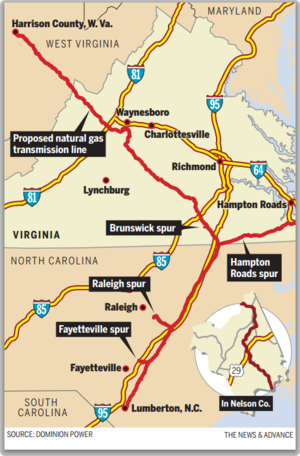 The 550-mile Atlantic Coast Pipeline would run from West Virginia to North Carolina. Its proposed route includes about 35 miles of Nelson County.