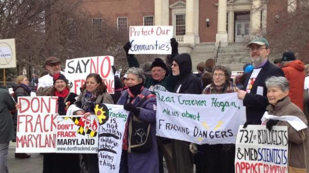 Fracking opponents rally at State House prior to Senate hearing on bills to ban or delay drilling for shale gas in western Maryland.