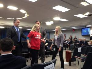 Margaret Flowers removed by security from FERC Commission meeting/Photo by Kevin Zeese