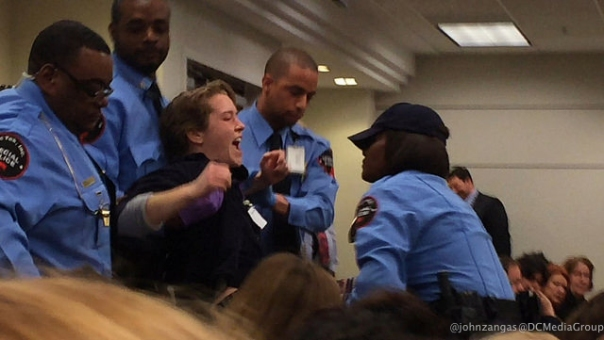 "Security drags protestor Sean Glenn out of the FERC meeting: ""As a kindergarten teacher, I am here for the children."""