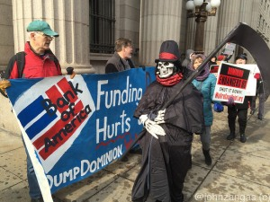 The Grim Reaper points out the dangers posed by the Cove Point terminal outside Bank of America on Pennsylvania Ave.